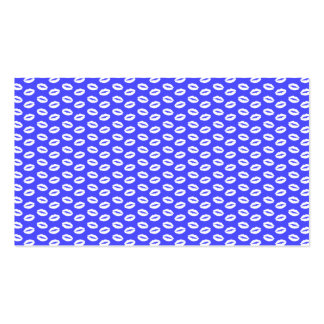 White Lips on Super Bright Neon Blue Business Card