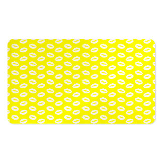 White Lips on Super Bright Neon Yellow Business Card