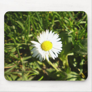 White Little Flower Mouse Pad