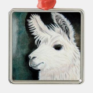 White Llama Metal Ornament