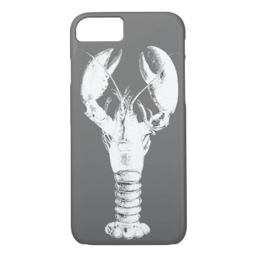 Beach Themed White Lobster on Gray / Grey iPhone 7 Case