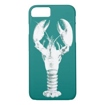 Beach Themed White Lobster on Turquoise / Teal iPhone 7 Case
