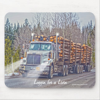 White Logging Truck Highway Driving Art Mousepad