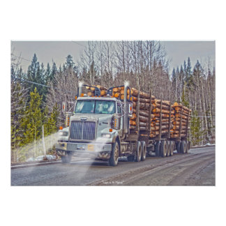 White Logging Truck- Lorry and Highway Art Poster