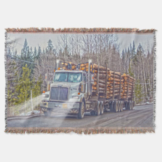 White Logging Truck- Lorry and Highway Art Throw Blanket