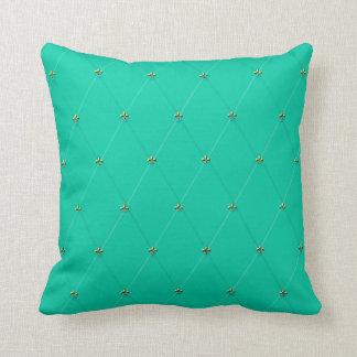White Logo Pattern Blue BG Throw Pillow