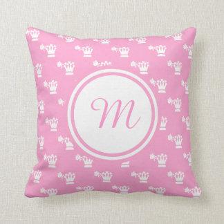White Logo Pattern Pink BG Monogram Throw Pillow