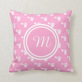 White Logo Pattern Pink BG Monogram Throw Pillows