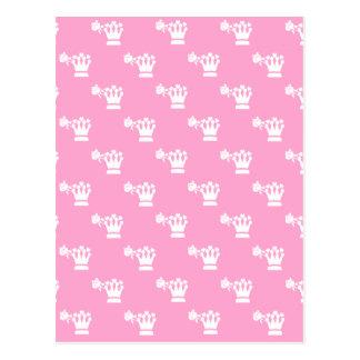 White Logo Pattern Pink BG Postcard
