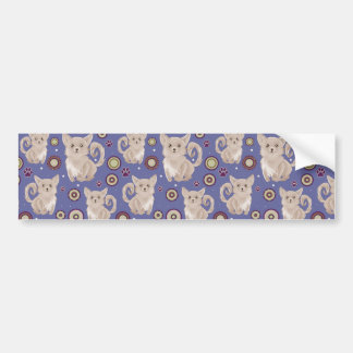 White Longhaired Chihuahua Pattern Bumper Sticker