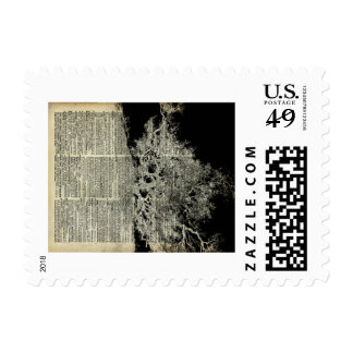 White Lonley Tree Dictionary Art Stamps