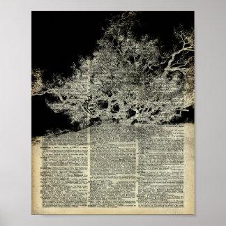 White Lonley Tree Dictionary Art Poster