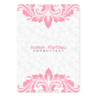 White loral Damask Pink Lace Large Business Cards (Pack Of 100)