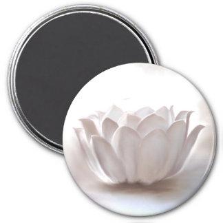 White Lotus 3 Inch Round Magnet