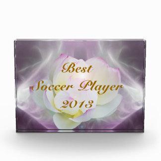 White lotus best soccer player acrylic award