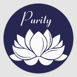 White Lotus Blossom Purity Classic Round Sticker