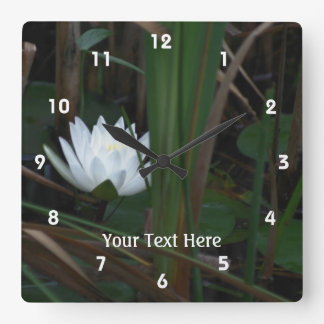 White Lotus Blossom Water Lily Flower Square Wall Clock