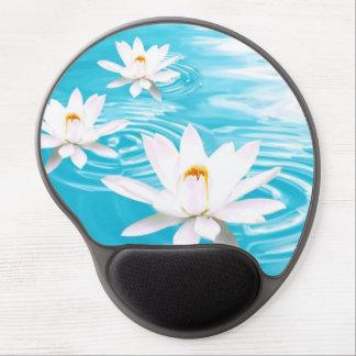 White lotus floating on turqouise water zen gel mouse pad