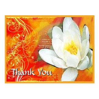 white lotus flower and swirls thank you postcard