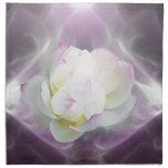 White lotus flower cloth napkins