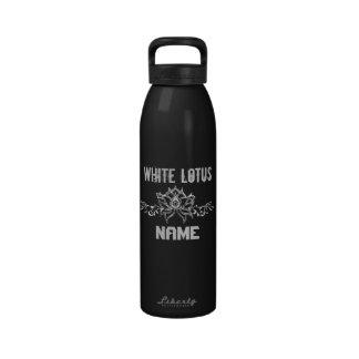 White Lotus Flower Custom Name Reusable Water Bottles