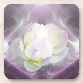 White lotus flower drink coaster