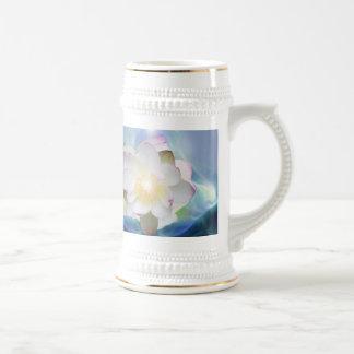 White lotus flower in blue crystal beer stein