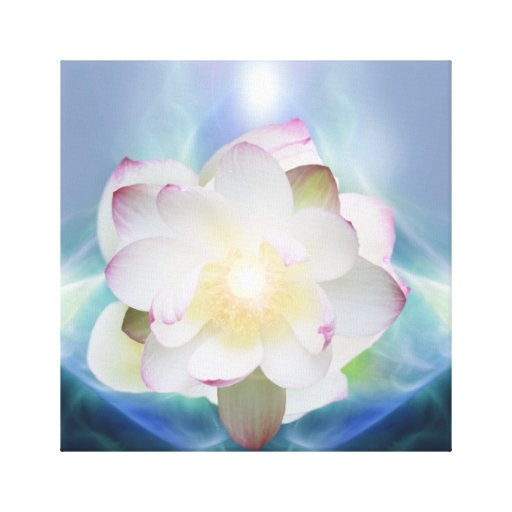 White lotus flower in blue crystal canvas print