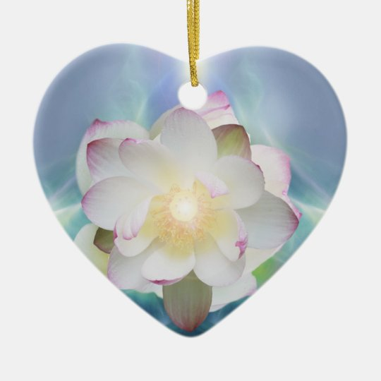 White lotus flower in blue crystal ceramic ornament