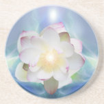 White lotus flower in blue crystal coasters