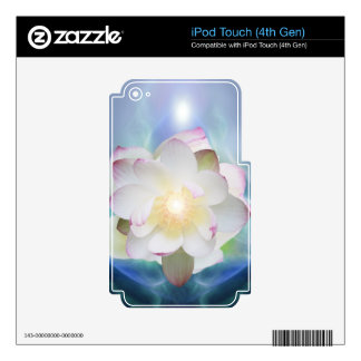 White lotus flower in blue crystal decals for iPod touch 4G