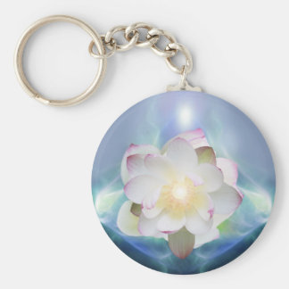 White lotus flower in blue crystal keychains