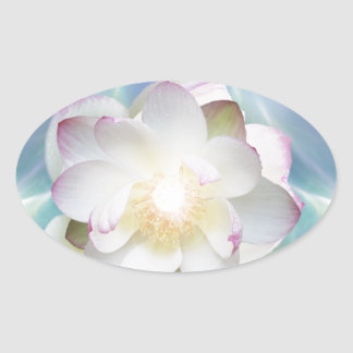 White lotus flower in blue crystal oval sticker