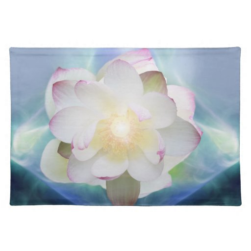 White lotus flower in blue crystal place mats