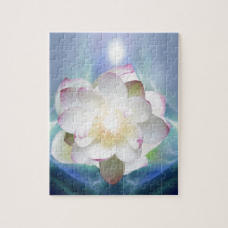 White lotus flower in blue crystal puzzle