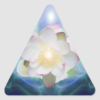 White lotus flower in blue crystal triangle sticker