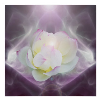 White lotus flower in crystal poster