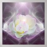 White lotus flower in crystal print