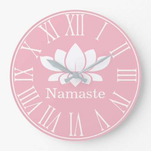White Lotus Flower Namaste Yoga Large Clock