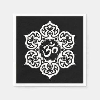 White Lotus Flower Om on Black Paper Napkin