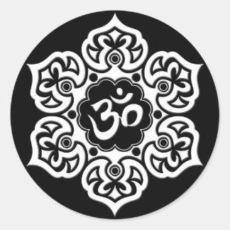 White Lotus Flower Om on Black Classic Round Sticker