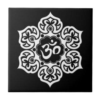 White Lotus Flower Om on Black Tiles