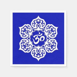 White Lotus Flower Om on Blue Disposable Napkins