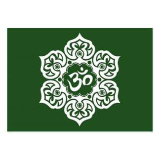 White Lotus Flower Om on Green Large Business Cards (Pack Of 100)