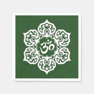 White Lotus Flower Om on Green Paper Napkin