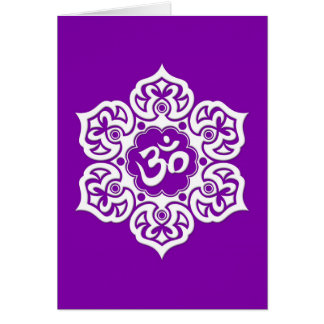 White Lotus Flower Om on Purple Card