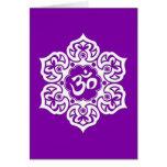 White Lotus Flower Om on Purple Greeting Card
