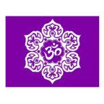 White Lotus Flower Om on Purple Postcard