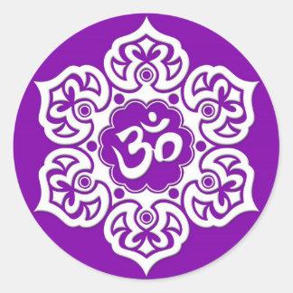 White Lotus Flower Om on Purple Classic Round Sticker