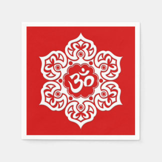 White Lotus Flower Om on Red Paper Napkin
